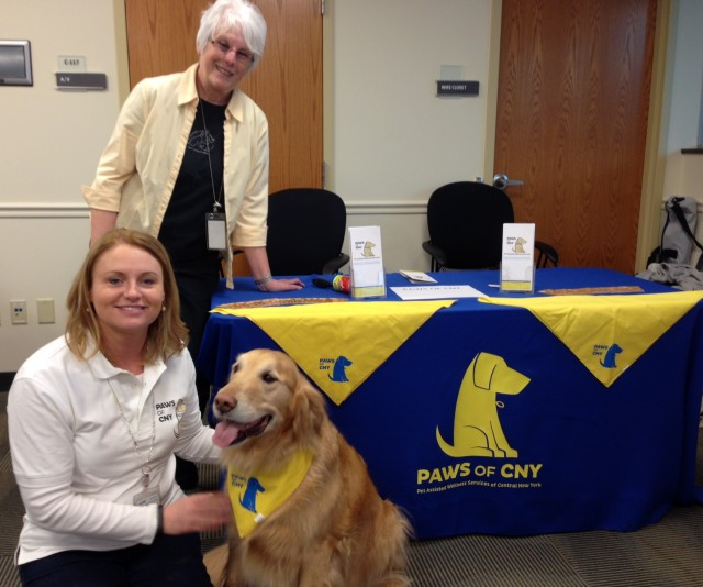 Kit McDonald and Buddy, and Sylvia Taub attend the SRC Volunteer Fair
